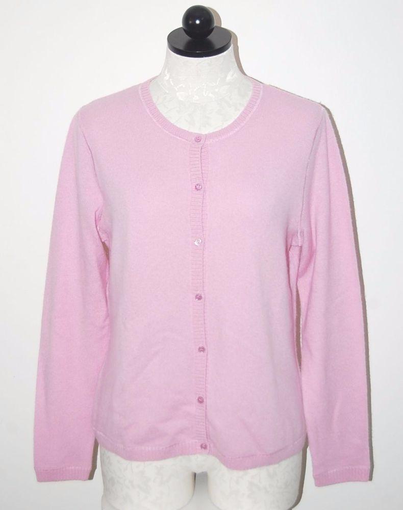 LL Bean 100% Cashmere Pink Cardigan Sweater M | Pink cardigan sweater