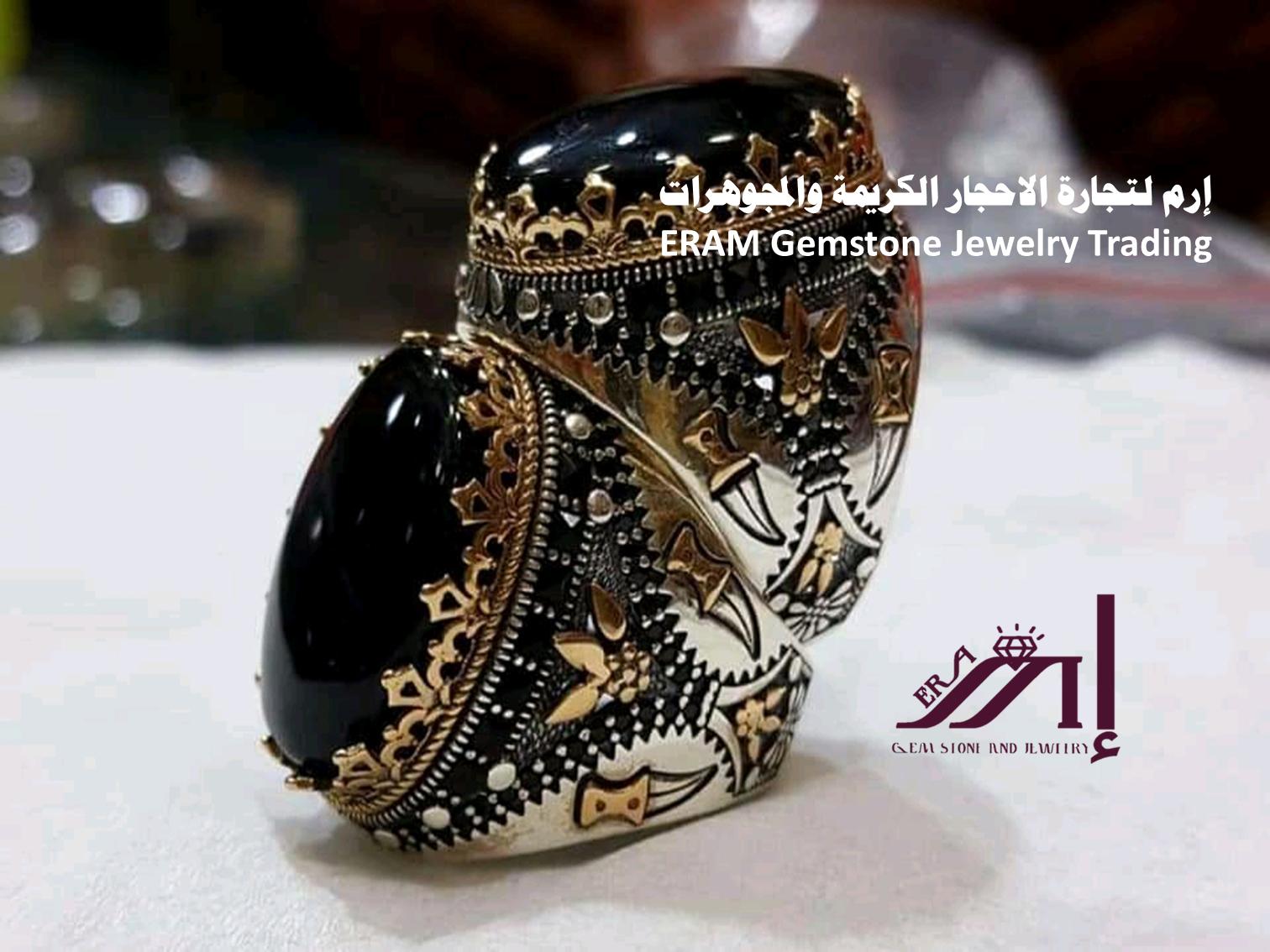 خواتم عقيق يمني اسود Agate مميز طبيعي100 الموديل 2 للعرض Gemstones Cuff Bracelets Gemstone Jewelry