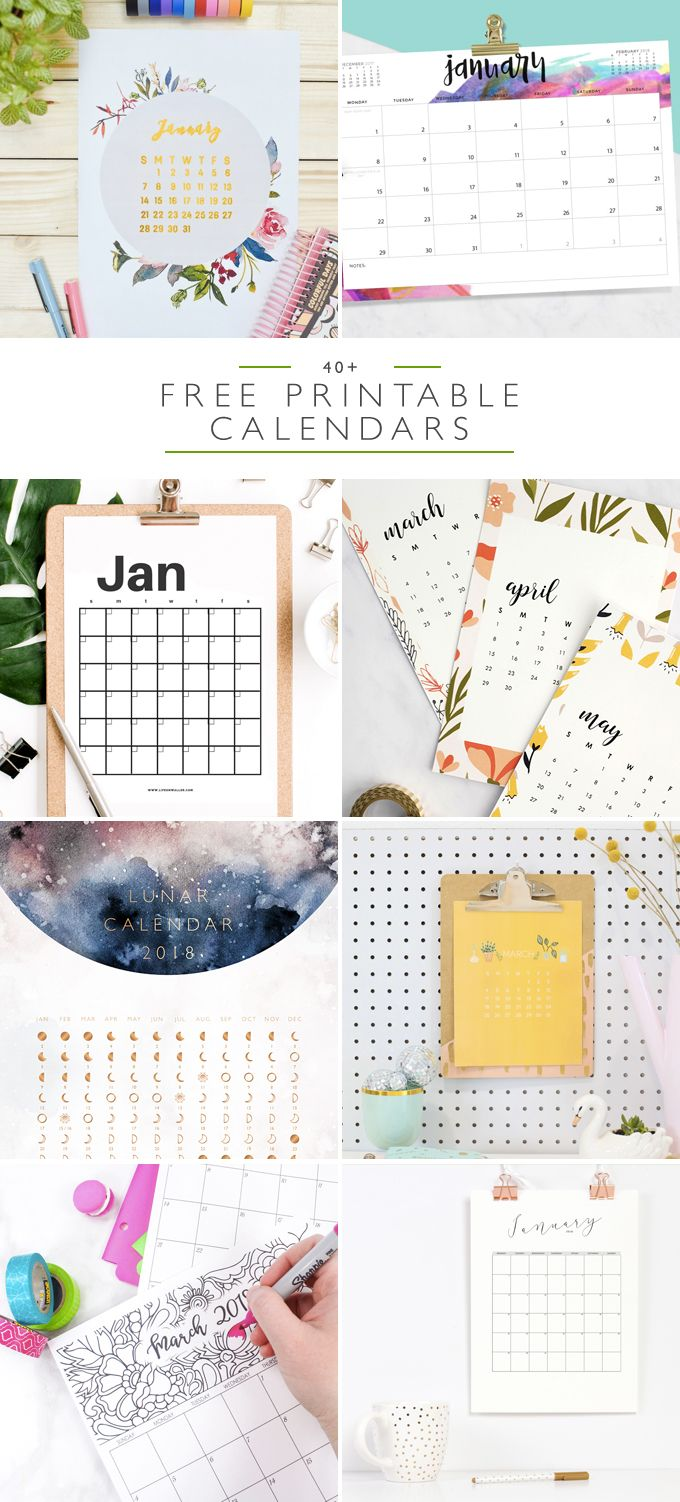 If you need a calendar for 2018, look no further. Here are 40+ free printable 2018 calendars, organized into 8 separate categories for easy pickings.