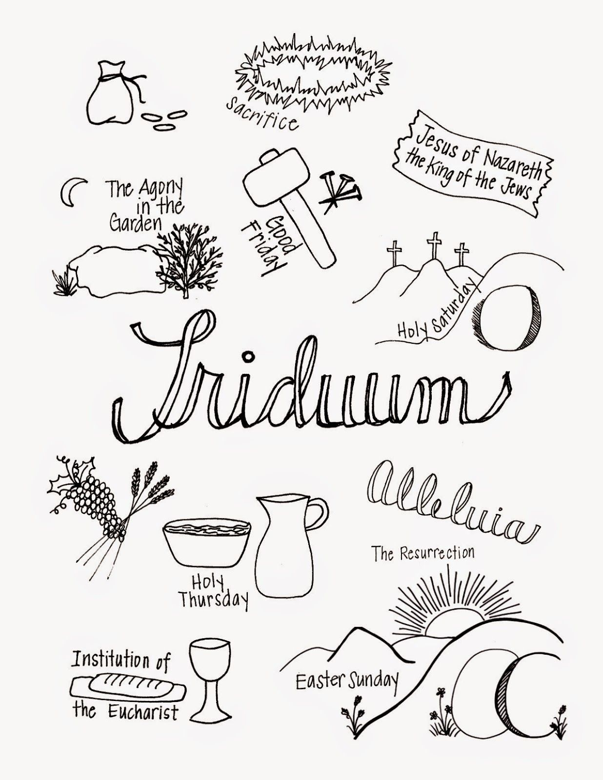 What the Triduum Looks Like: great printable to use with