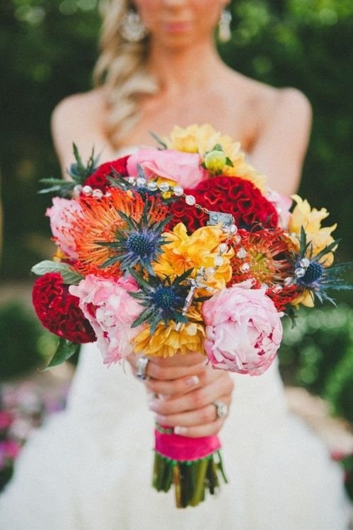 Colorful fiesta wedding bouquet