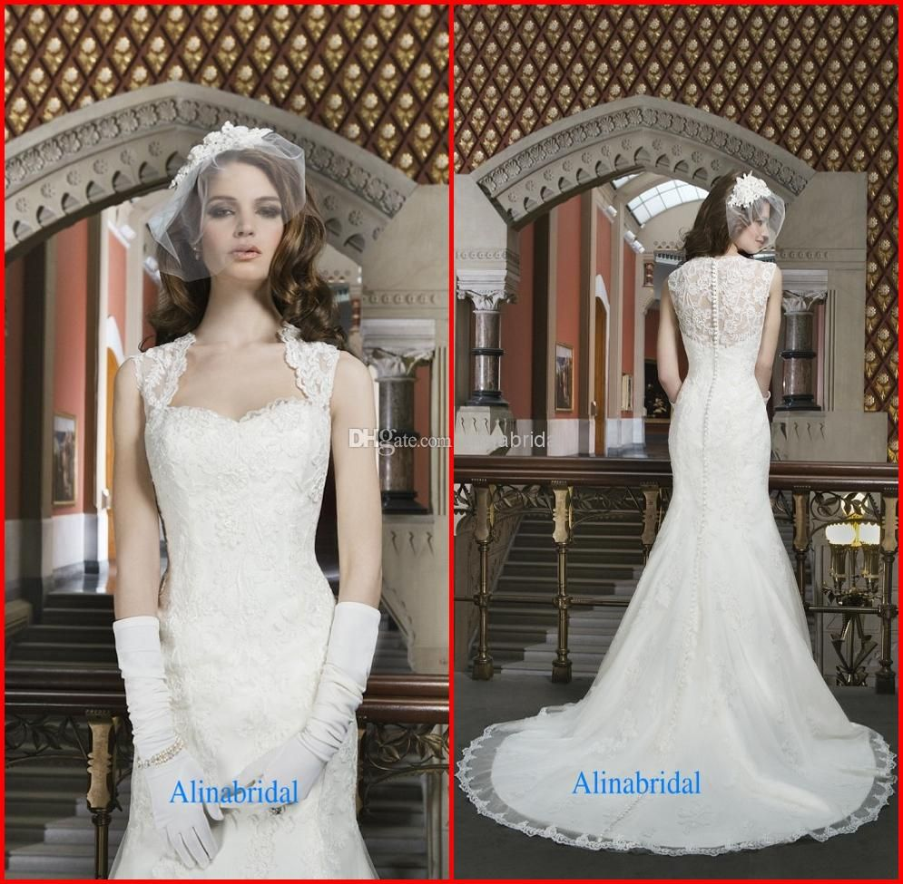 Cheap White Ivory Wedding Dresses Mermaid Lace Appliques: Buy 2014 Lace Mermaid Wedding