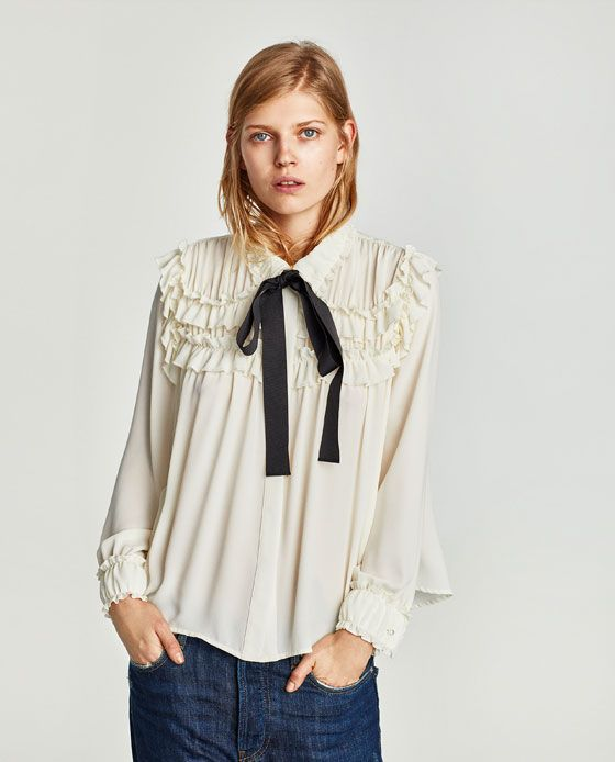 32a467db38 Image 2 of RUFFLED BLOUSE WITH CONTRASTING BOW from Zara
