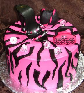 Ladies custom designed pink and black diva birthday cake with