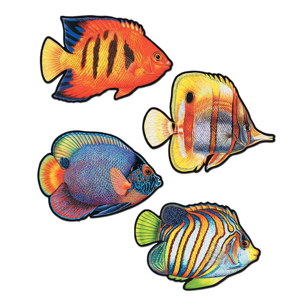 4 Colorful CORAL REEF Tropical FISH Diecut CUTOUT Party