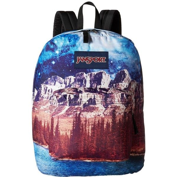 JanSport High Stakes (Multi Agate Skies) Backpack Bags ($40) ❤ liked on Polyvore featuring bags, backpacks, day pack backpack, jansport rucksack, knapsack bag, jansport daypack and strap backpack