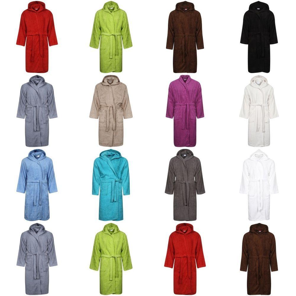 8923fb410c Men   Women 100% Cotton Terry Towelling Bath Robe Hooded Soft Dressing