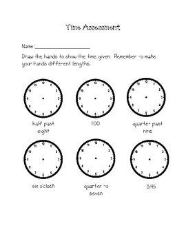 Grade 2 Telling Time Assessment   Math   Math tutor ...