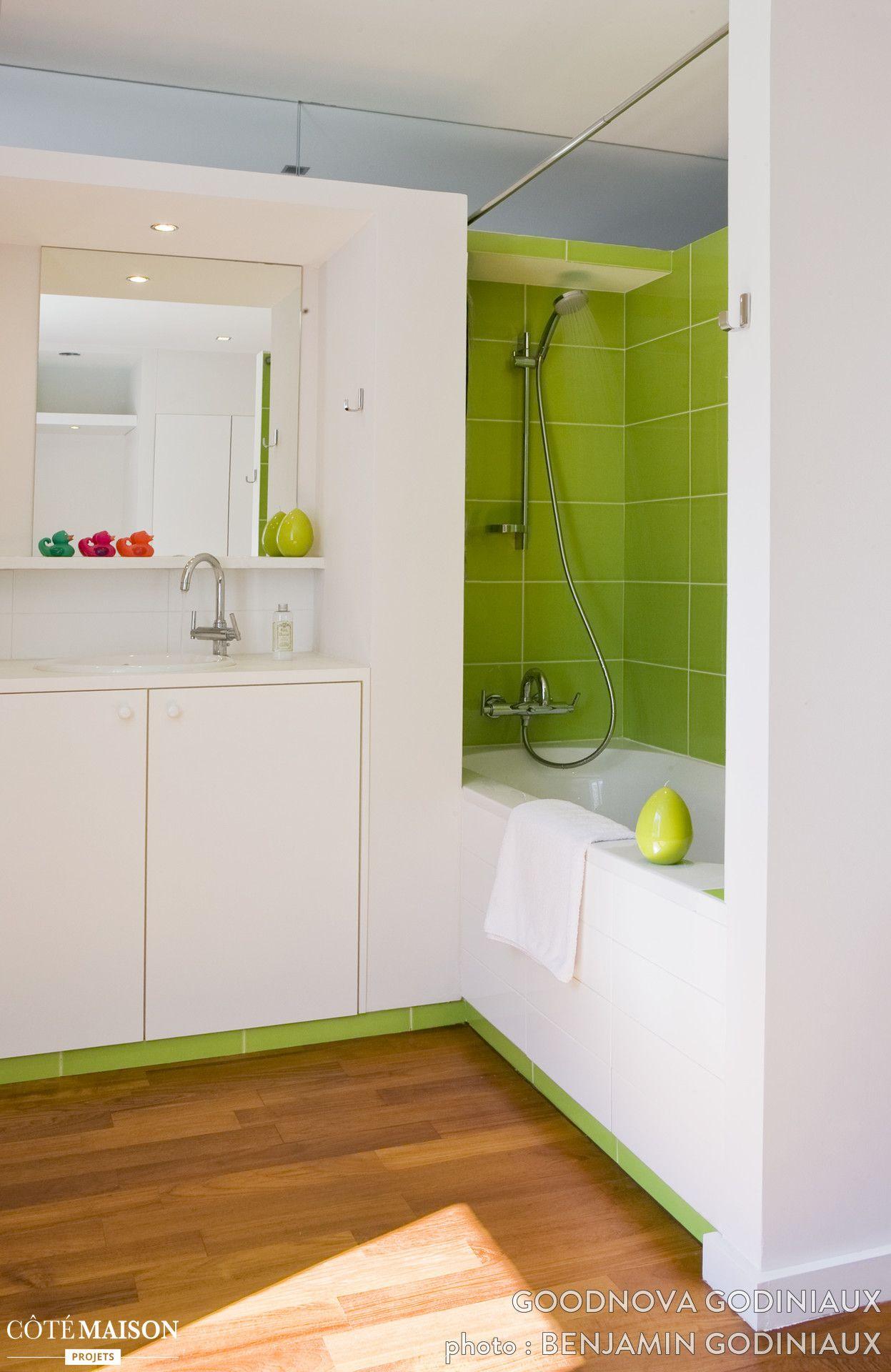 une salle de bains avec une couleur verte plutà t original