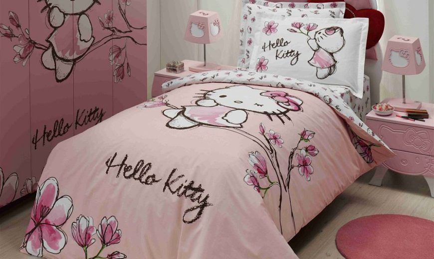 Hello Kitty Bedding Set 4pcs Include Duvet Cover Bed Sheet Pillowcase Children Kids Comforter Bedding Sets Hello Kitty Bed Hello Kitty Bedroom Kids Comforters