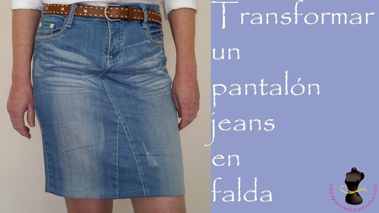 721fb382bf Transformar un pantal贸n jeans en falda - YouTube Reciclaje De Ropa