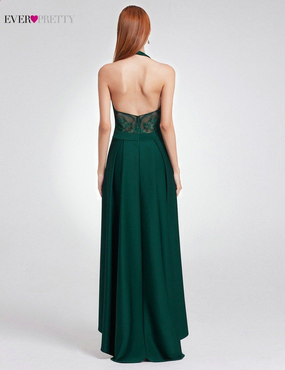 31b7c781d8d Dark Green Prom Dresses 2018 Halter Backless Ever Pretty Brand Illusion  Elegant Women Ladies High Low Dresses For Wedding Party