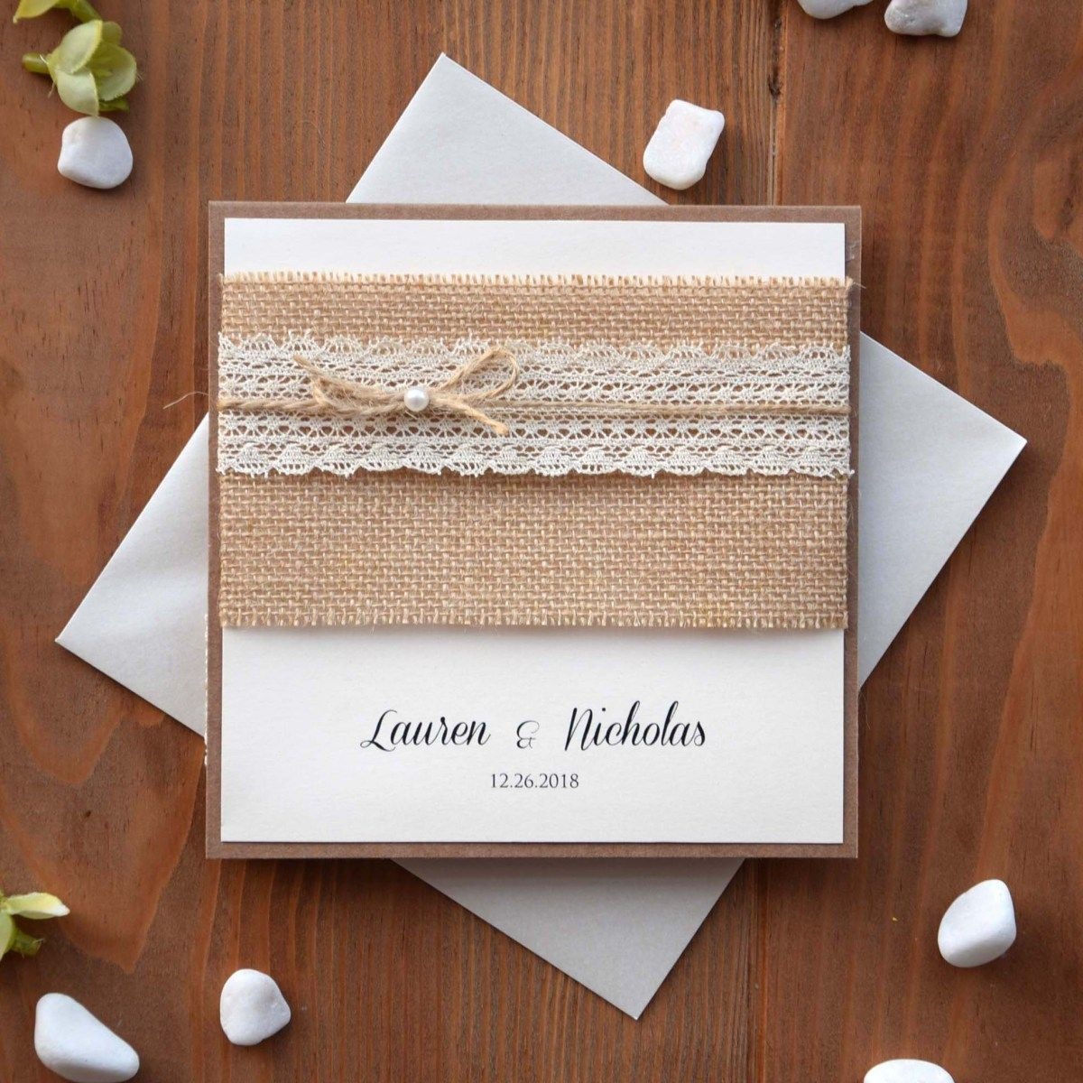 Burlap And Lace Wedding Invitations Discount Wedding Invitations Beach Wedding Invitations Budget Wedding Invitations