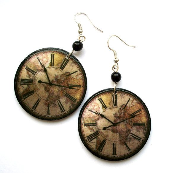 Now this is what I need!   Antique CLOCK EARRINGS retro steampunk vintage by SaboDesign, $19.00
