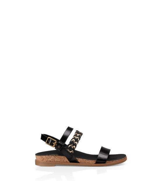 UGG Jayna Metallic Sandal(Girls') -Black Faux Leather Discount 2018 Free Shipping New Arrival Discounts Cheap Online Clearance Purchase sr4O6