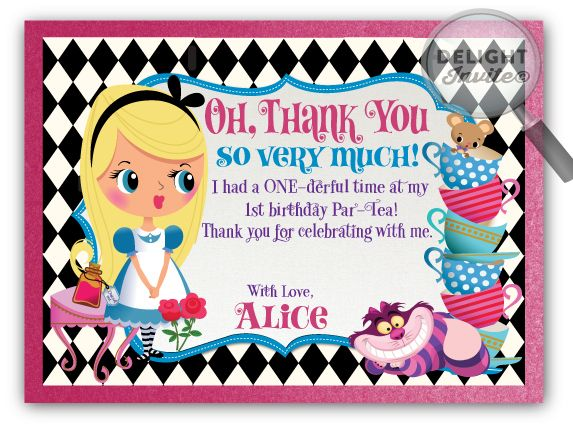 Alice In Wonderland Thank You Cards Mad Hatter Party Alice In Wonderland Birthday Alice In Wonderland