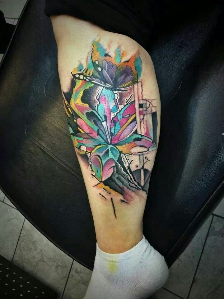 Abstract tattoo by yeyo at certified customs in denver co