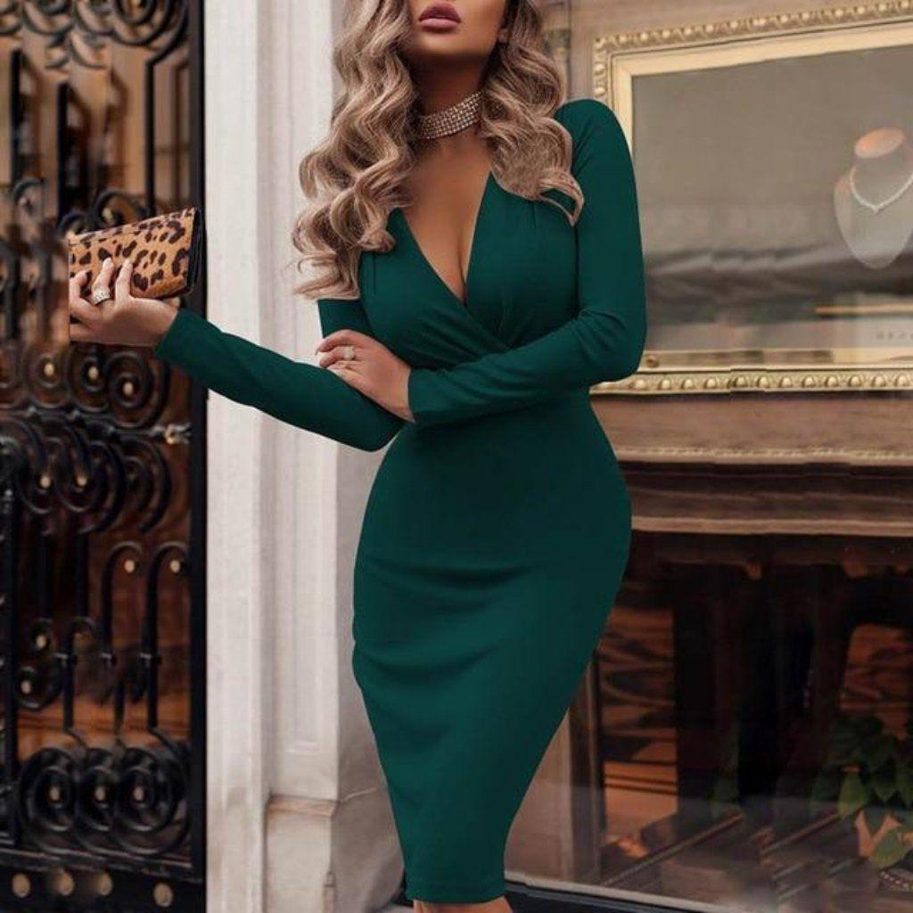 deep v neck long sleeve womens midi pencil dress | kleider