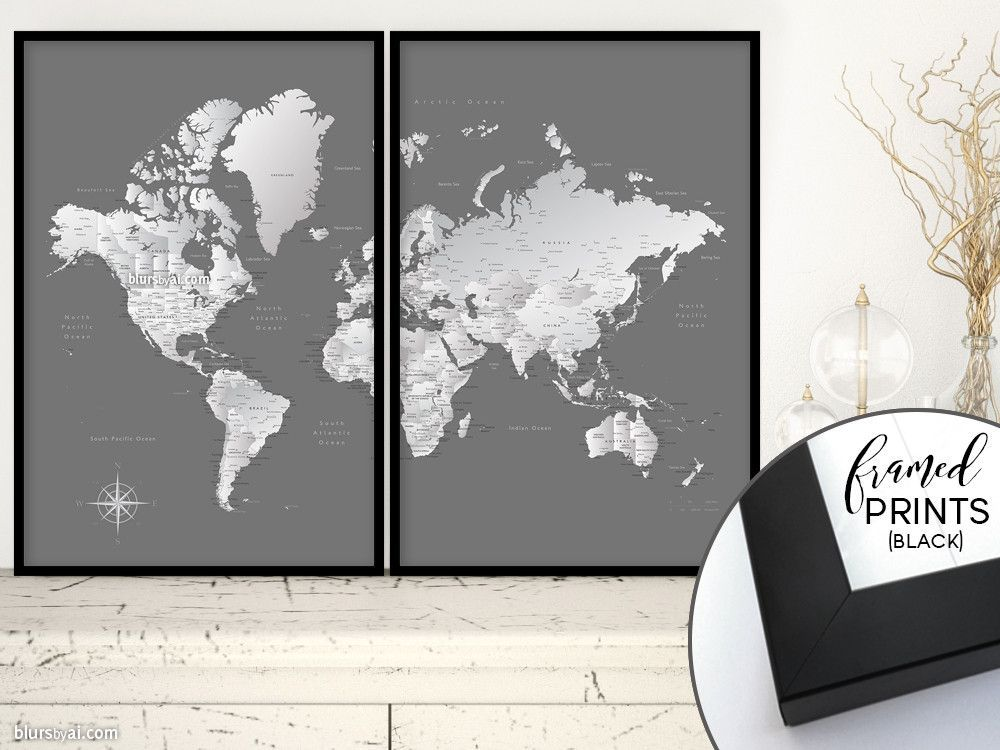 Set of two 36x24 framed world map prints grayscale world map with set of two 36x24 framed world map prints grayscale world map with cities gumiabroncs Gallery