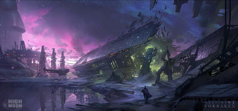 Artstation Destiny 2 Forsaken Tangled Shore Jeremy Fenske In 2020 Destiny Comic Fantasy Concept Art Destiny Game