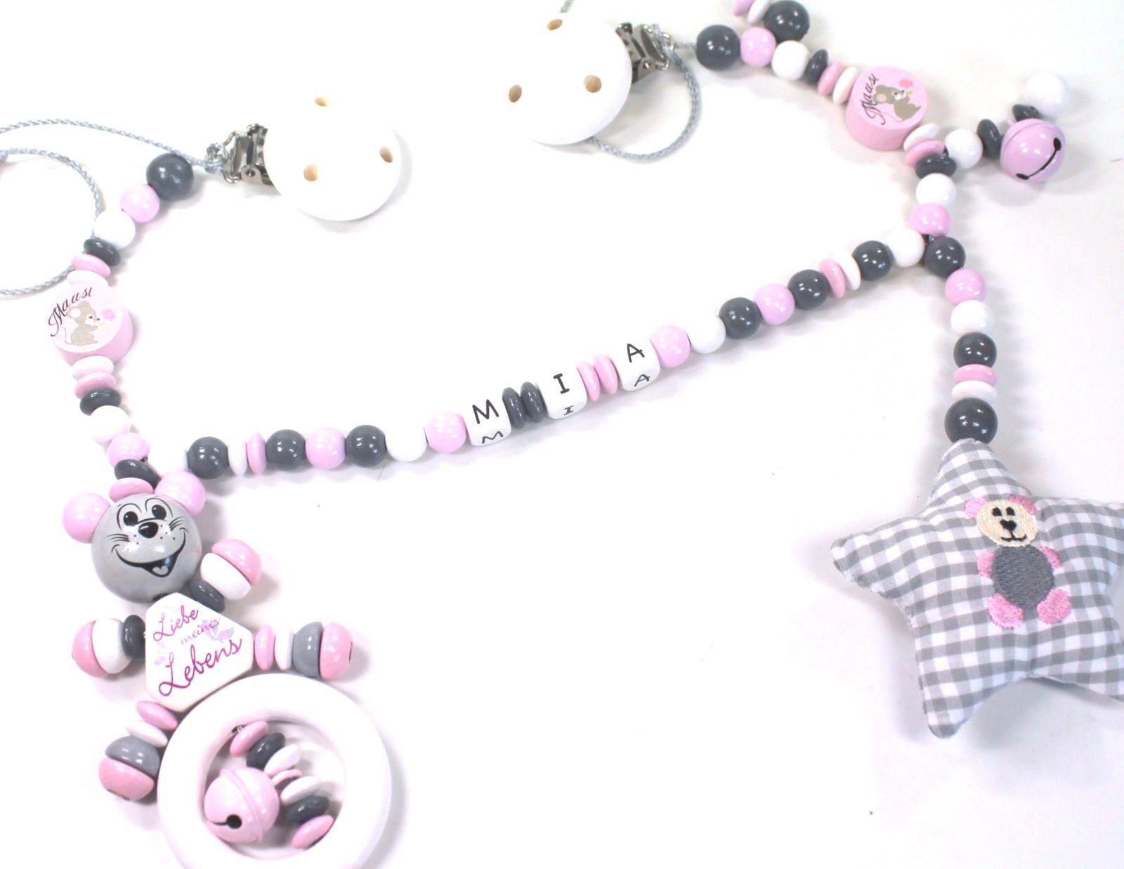 Kinderwagenkette mit Namen grau rosa Schnullerkette Teddy Set Mädchen