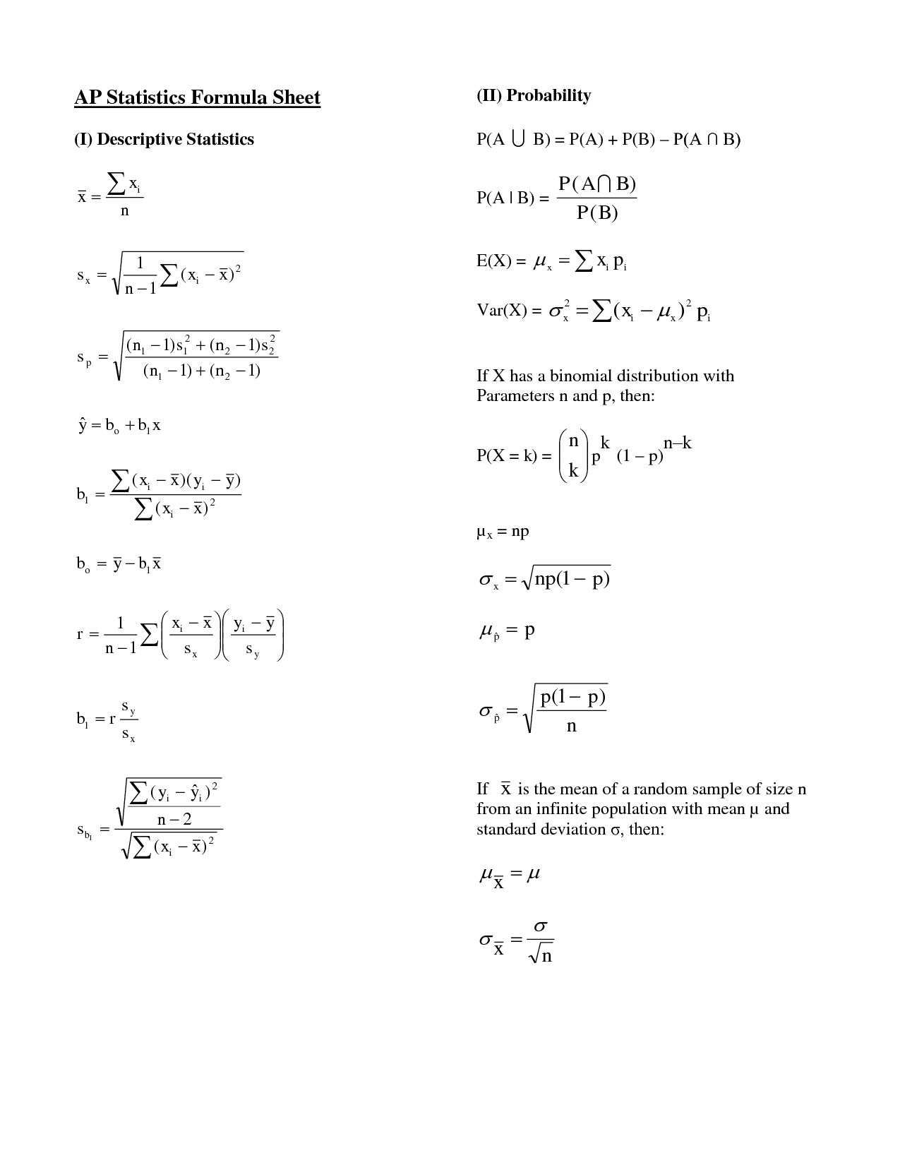 Ap Statistics Formula Sheet Ap Statistics Formula Sheet I Descriptive
