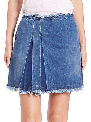 dbed9ce653f Chloé Side-Pleated Denim Skirt - Washed Indigo - Size 2