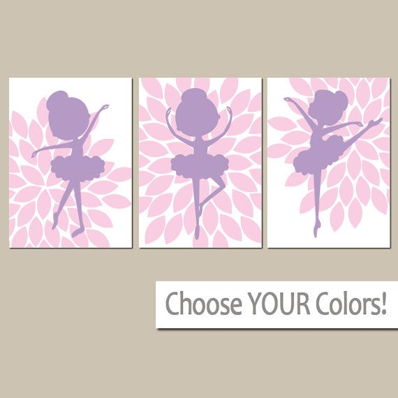 BALLERINA Wall Art- Pink Purple Nursery- Baby Girl Nursery Wall Art ...