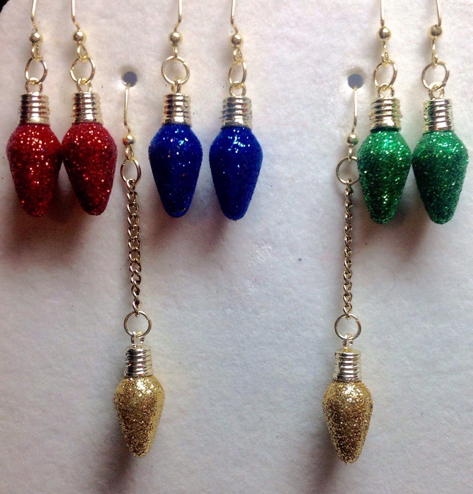 miniature christmas bulb earrings - glitter christmas earrings