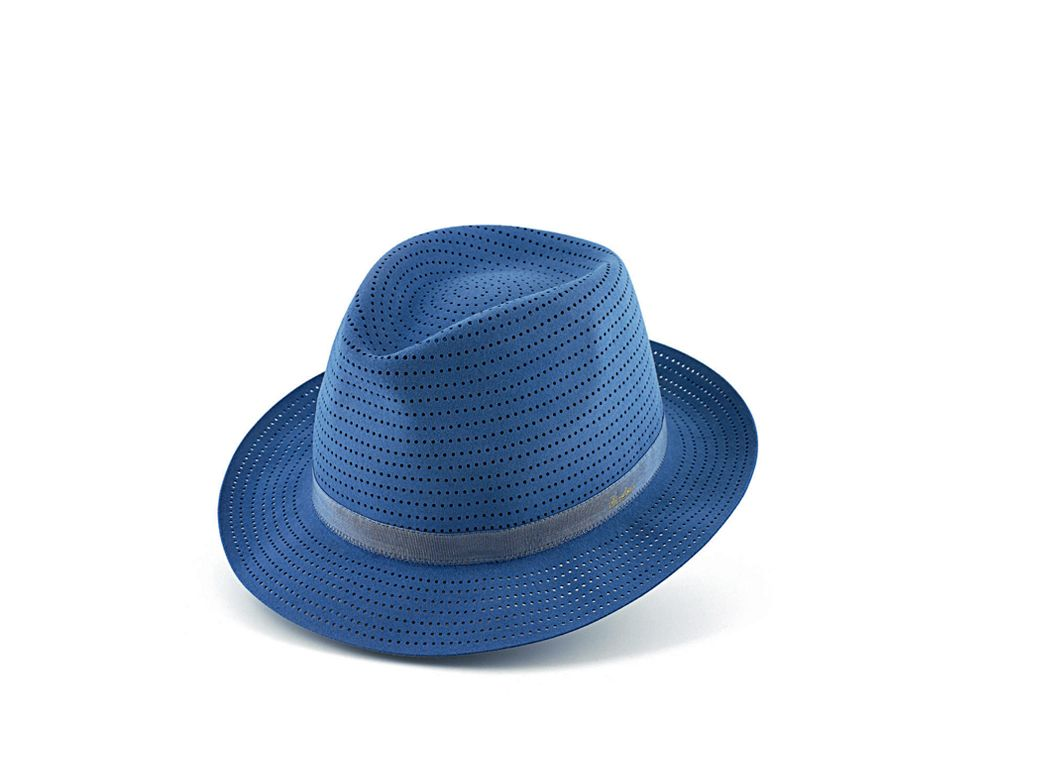 Borsalino  Art. BF160204C  Ultra-light felt hat.  Canneté matching band  Fully perforated for a light weight of 49 grams.