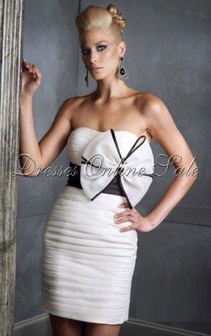 White Shining Sheath Strapless Short Dress