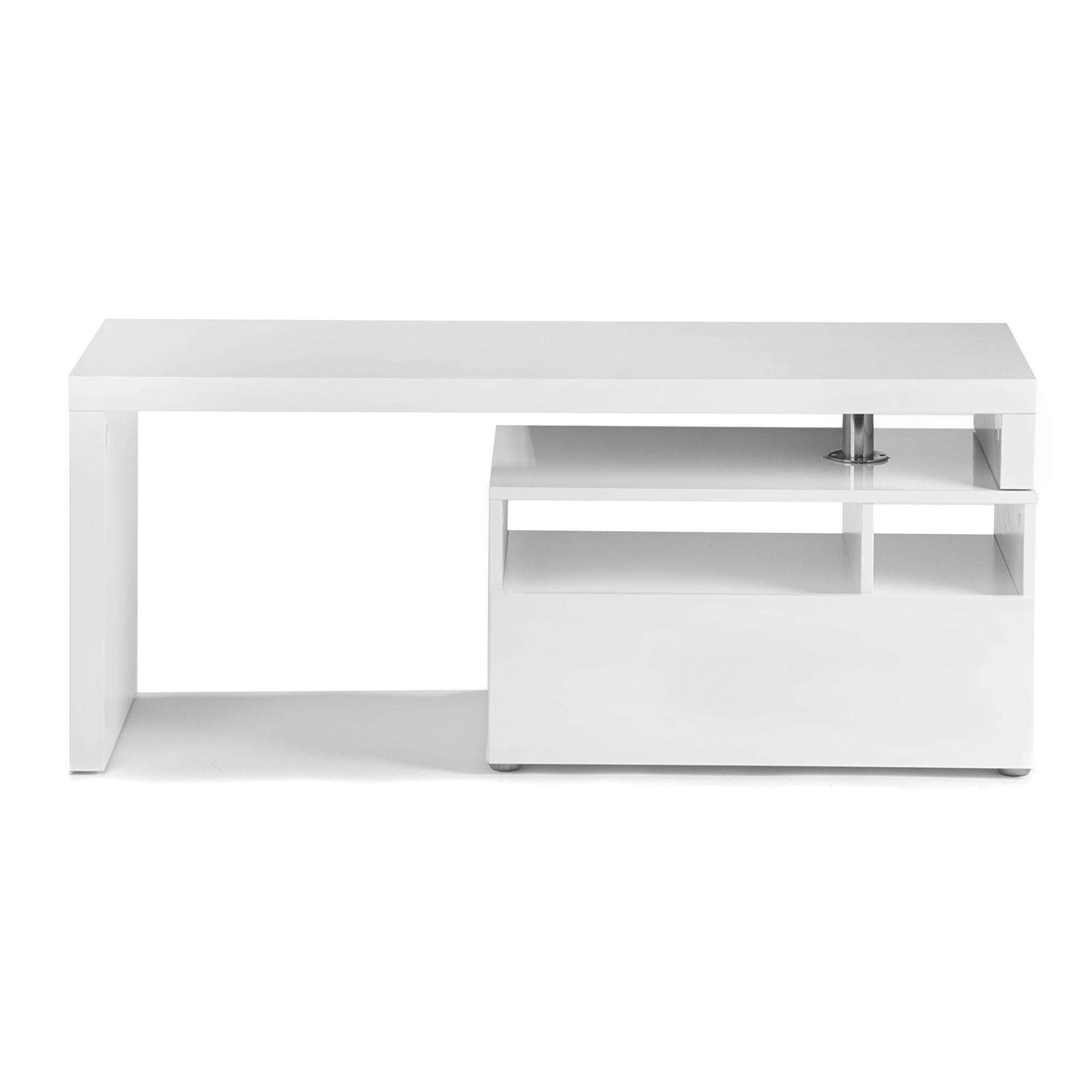 meuble tv pivotant blanc blanc chock