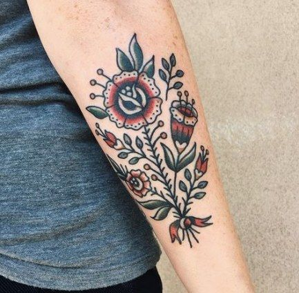 Flowers Tattoo Traditional Simple 39 Ideas For 2019 Body Tattoos Traditional Tattoo Flowers Tattoos