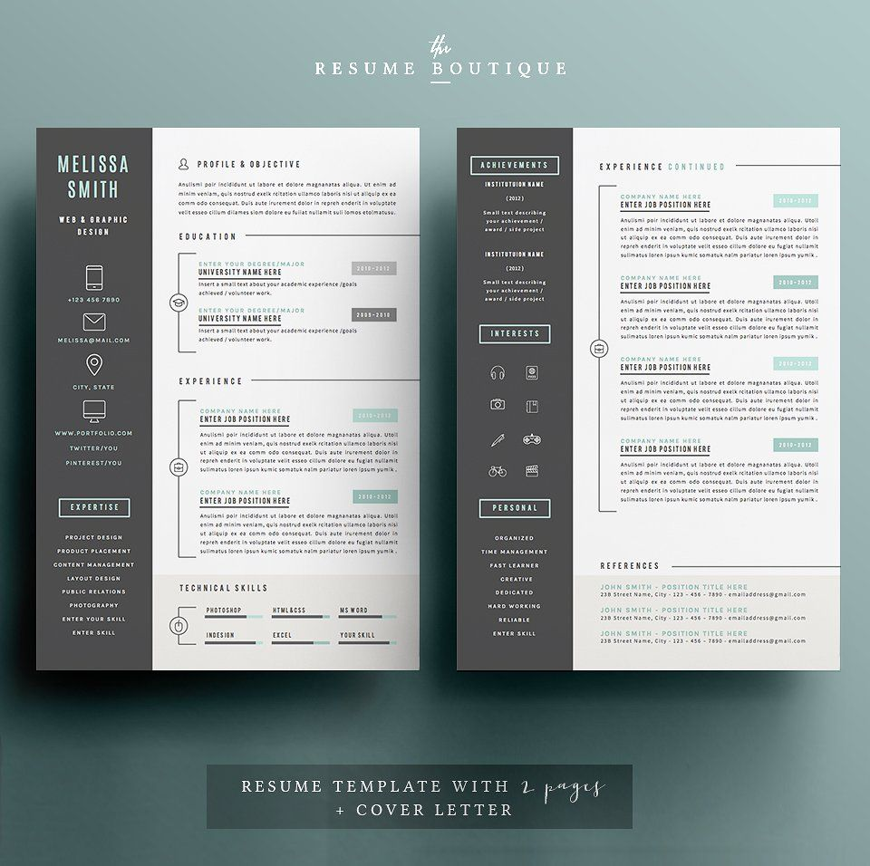 Resume Template  Page Pack  Iconic  Template And Design Resume