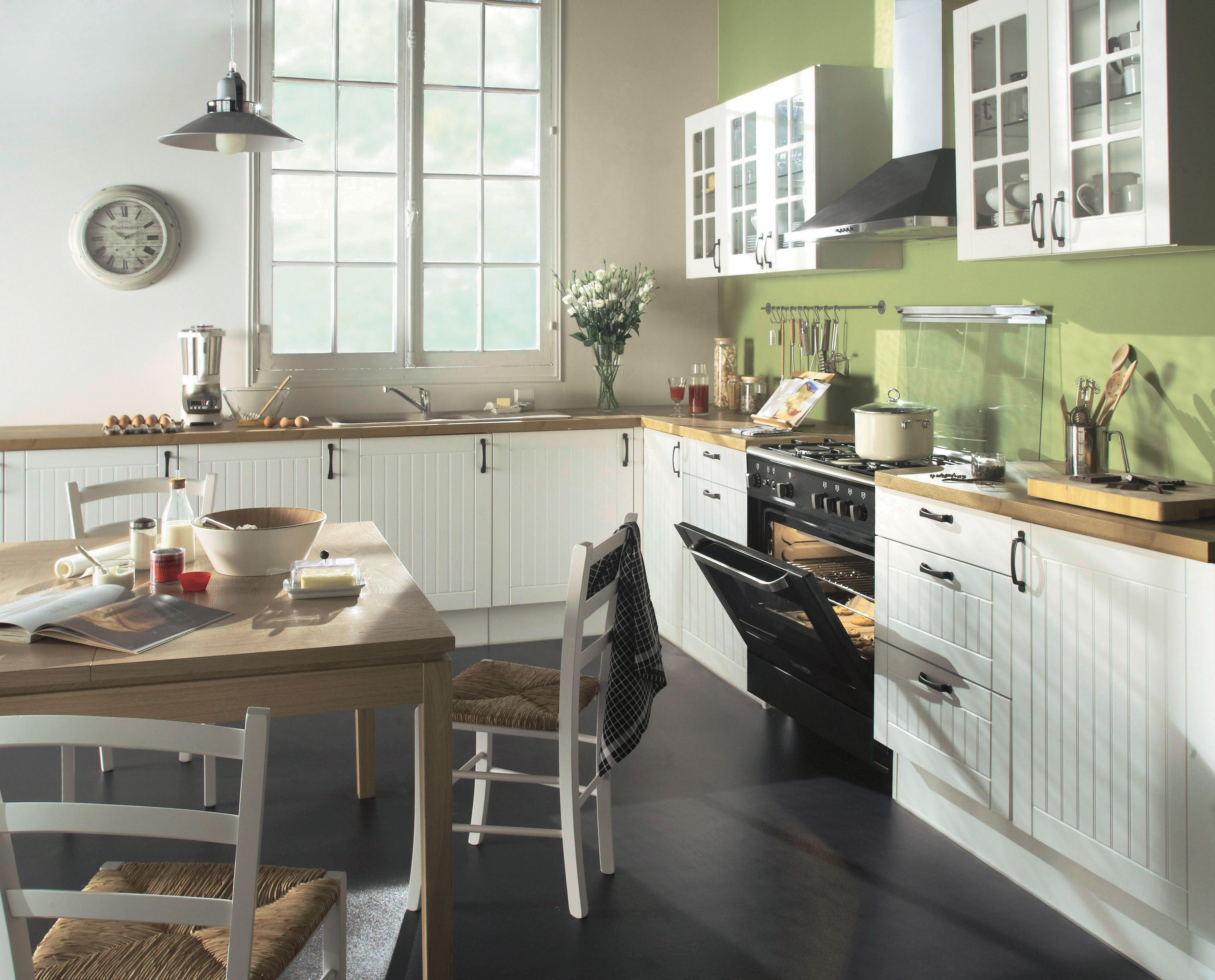 Cuisine Blanche Bois Authentique Campagne Ivory But Cuisine