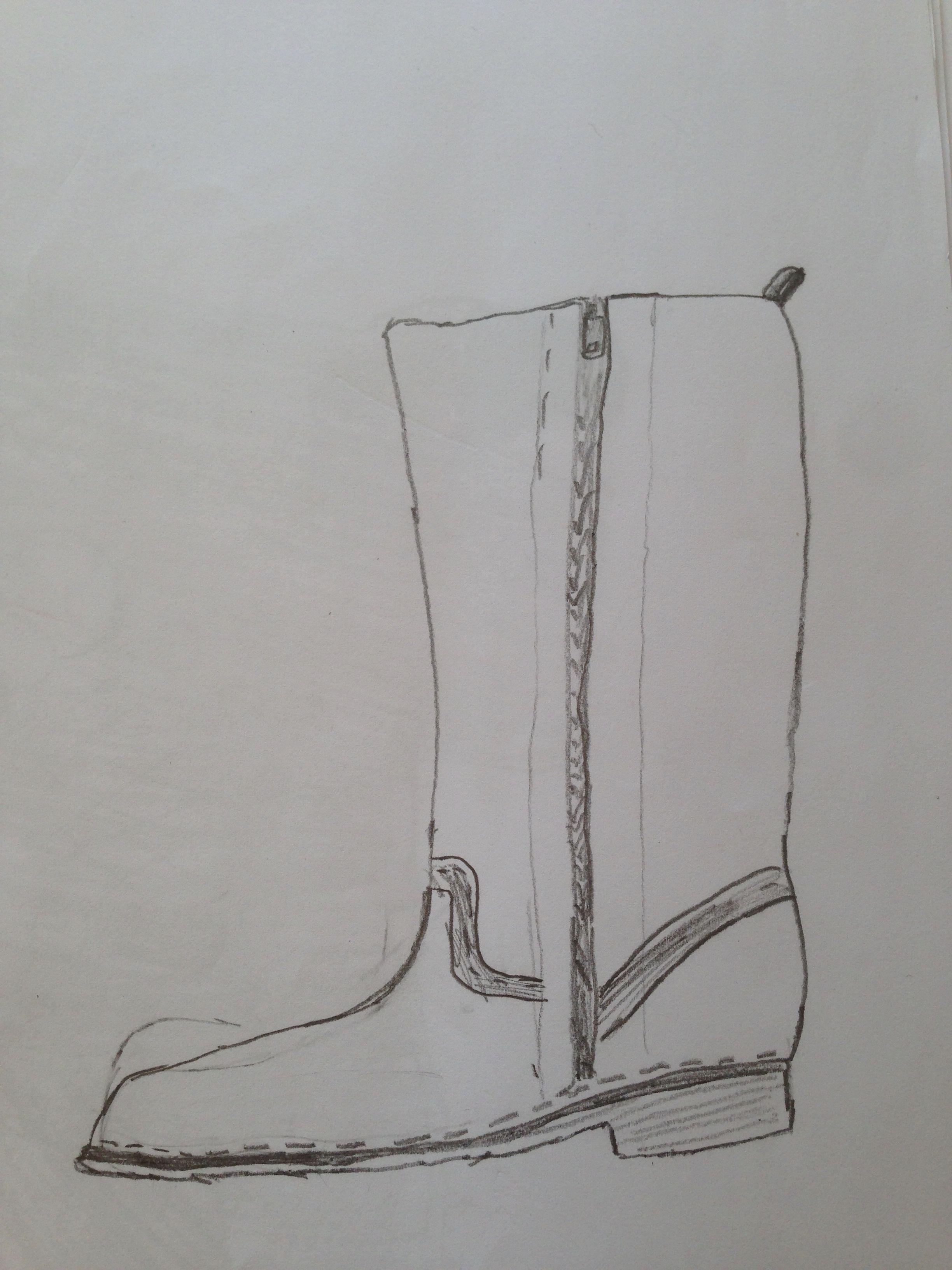 Groep 4 en 5 natekenen schoen met grijs potlood, daarna