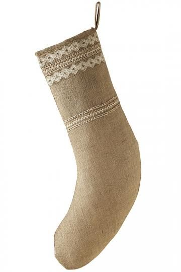Burlap Lace Cuff Stocking - Hang a Lovely Stocking by the Chimney with Care