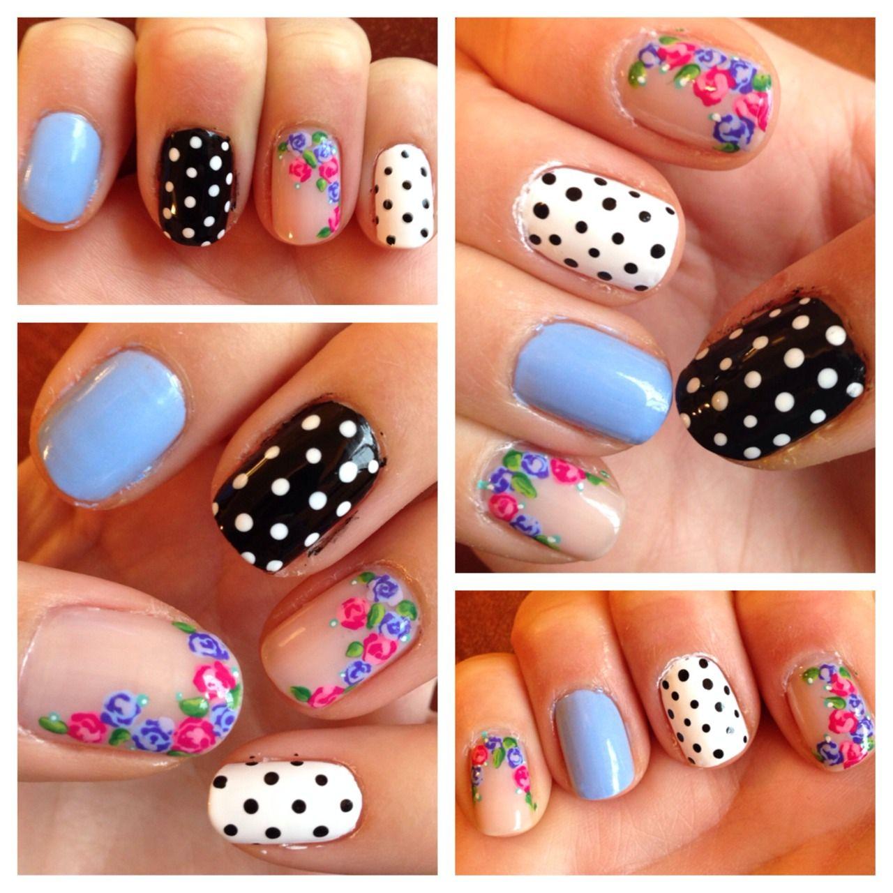Rose and polkadot nails, floral nail art