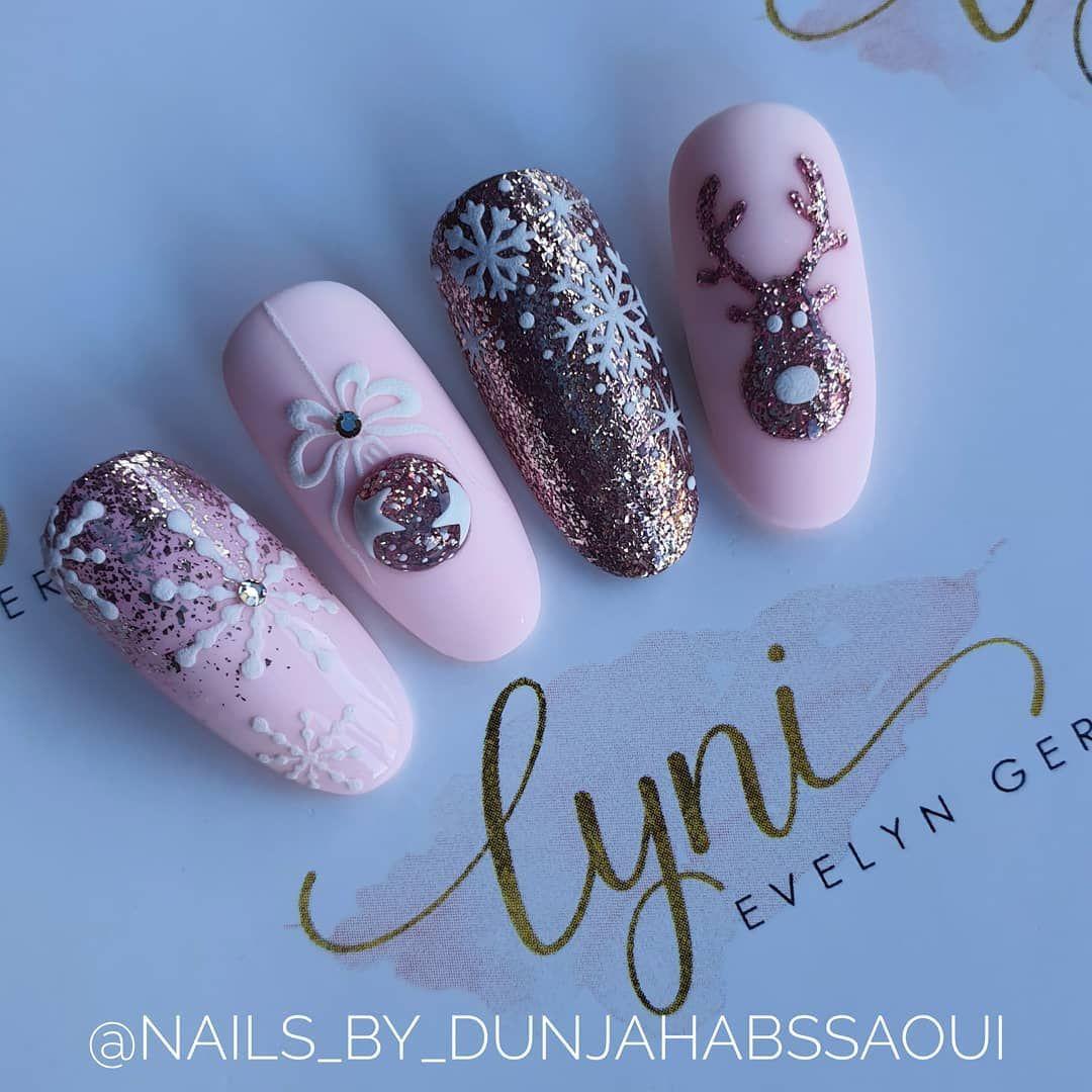 """Dunja Habssaoui on Instagram: """"♡Werbung♡ Rosa Winternailart ❄💗🦌 Ich liebe einfach zarte Farben 😇😁 Alle Produkte von @lyninails aus #lynisnailshop 🌸 Einen Link* zu den…"""""""