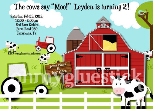 Barn Party Farm Party Cow Party Tractor Party Invitation Barnyard