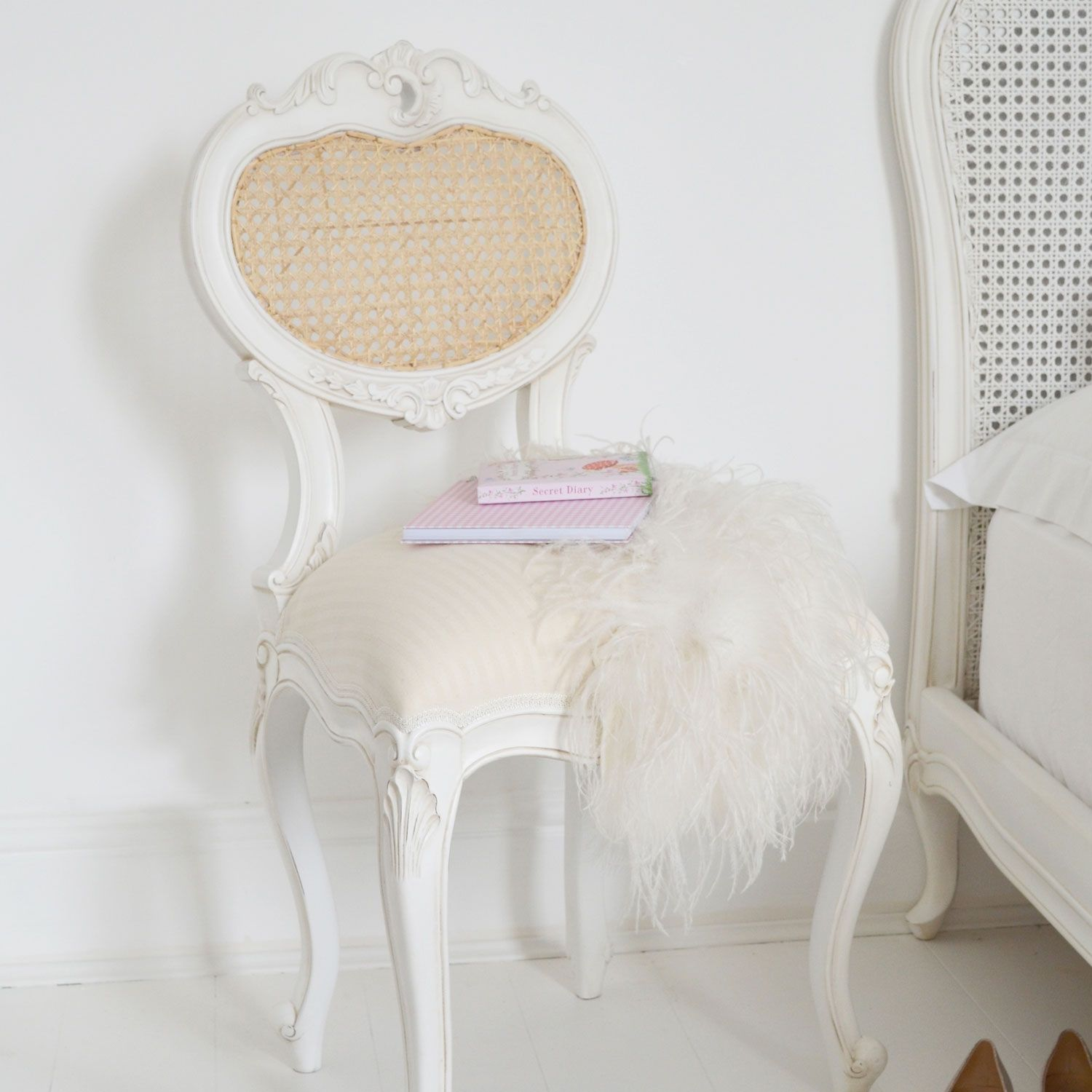 Classical White Bedroom Chair  White bedroom chair, Bedroom chair