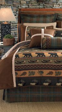 Rustic Bedding Sets For 2020 Cabin Bedding Lodge Comforters Cabin Bedroom Log Cabin Bedding Log Cabin Decor