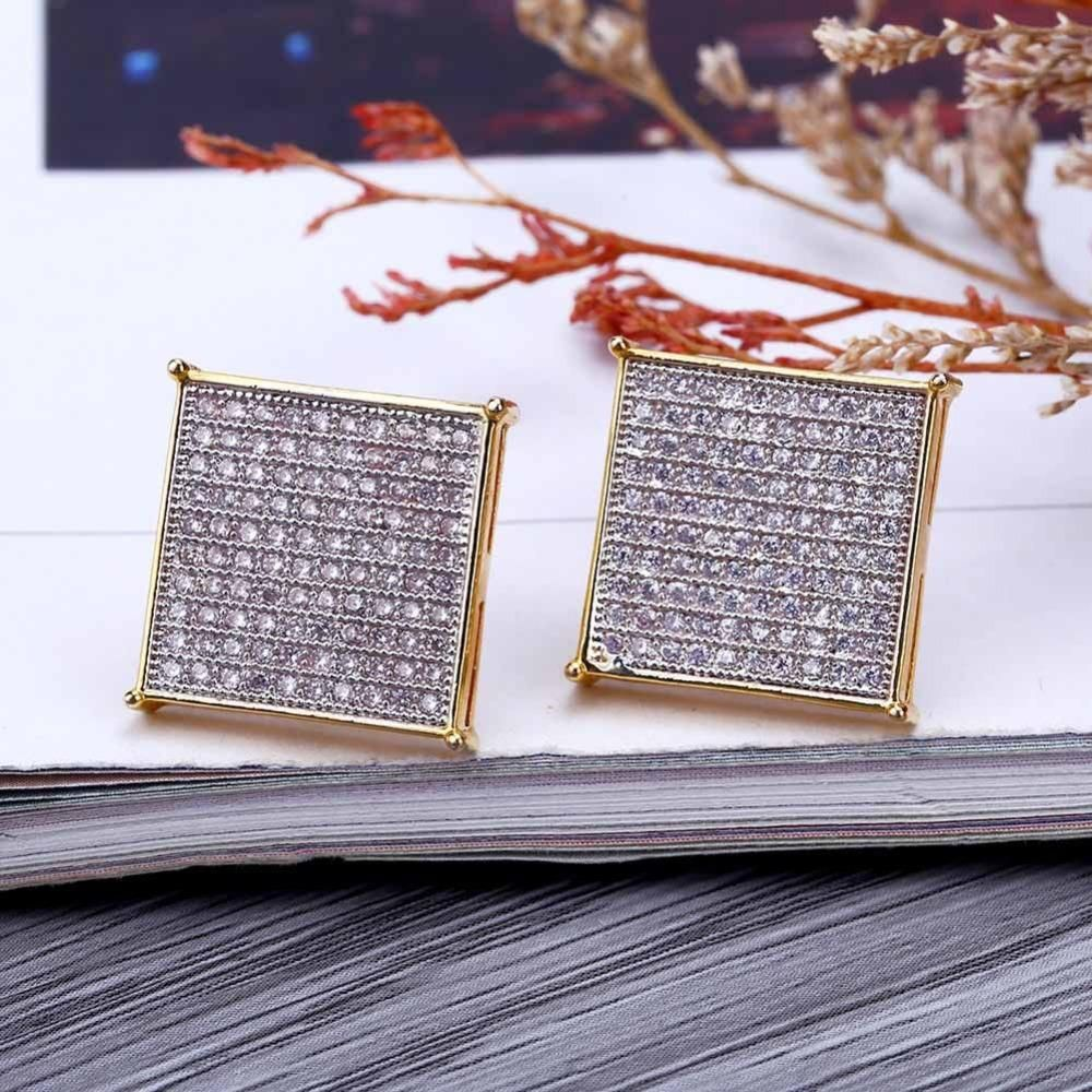 Missfox hiphop 24k gold plated earring for men safety pin