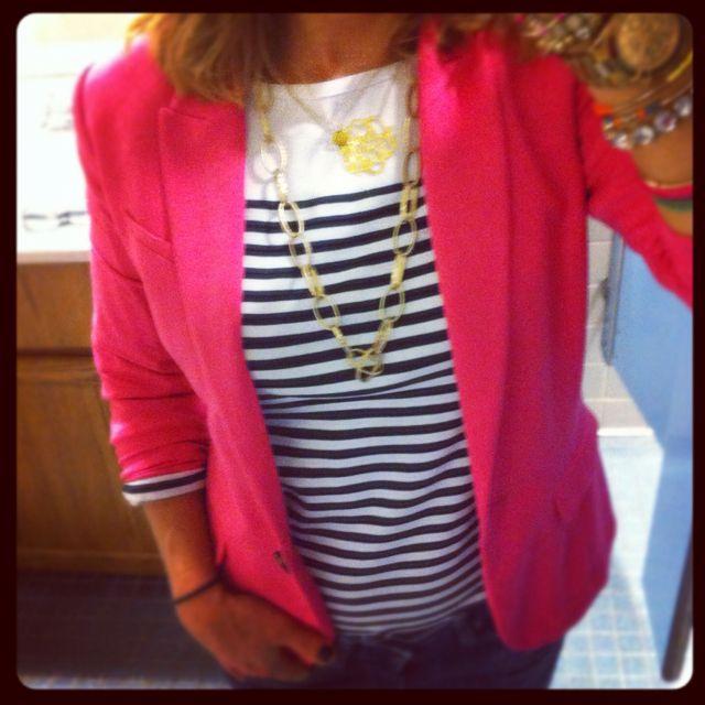 Pink Blazer and stripes.