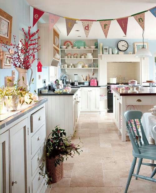 Duck Egg Blue Walls Red Accents White Cupboards