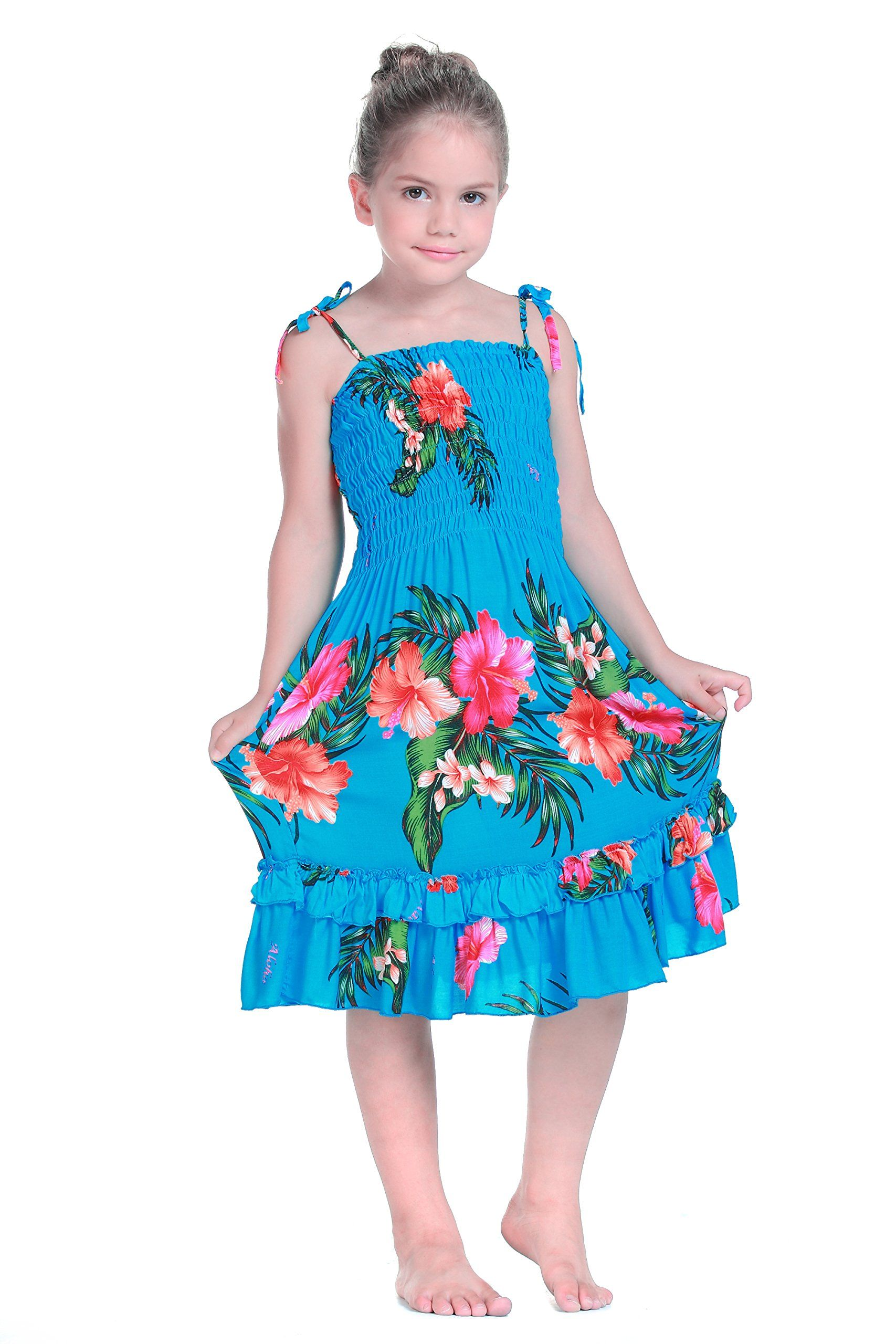 Girl Elastic Ruffle Hawaiian Luau Dress in Turquoise 8. 100% Rayon ...