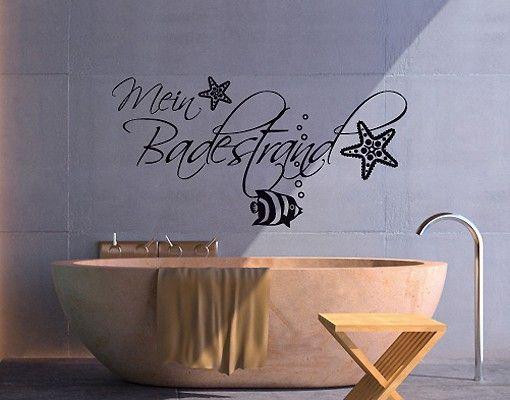 Wandtattoo Sprüche - Wandworte NoSF360 mein #Badestrand 1 - Wandtattoos Fürs Badezimmer