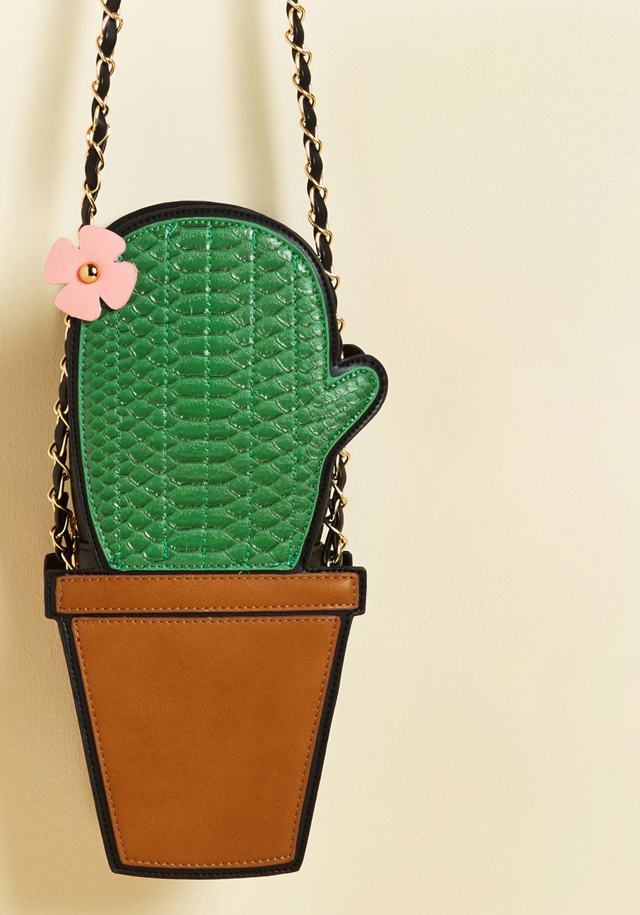 89c31b597e3e6c Desert Dabbling Bag - Green, Brown, Flower, Casual, Daytime Party, Statement,  Quirky, Spring, Good