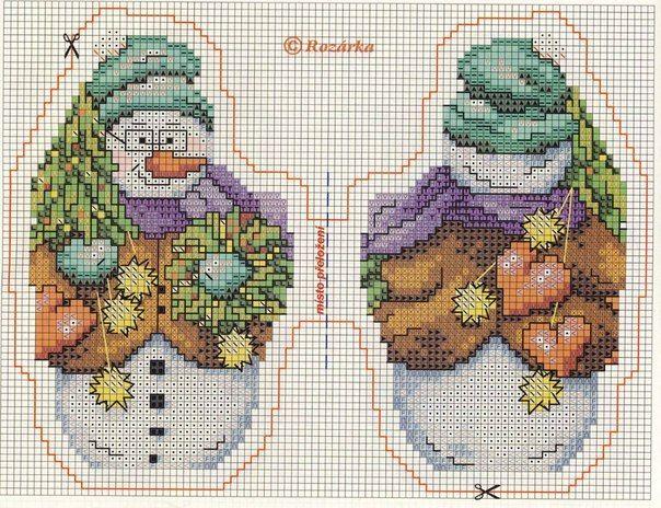 новогодняя вышивка, схемы снеговичков   DOBLE CARA   Pinterest ...