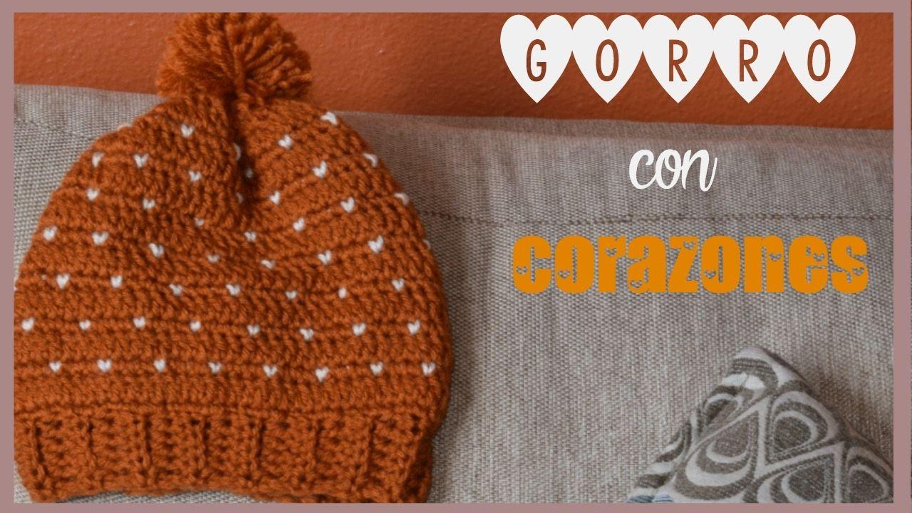 COMO TEJER GORRO CON CORAZONES A CROCHET | Gorros | Pinterest | Como ...